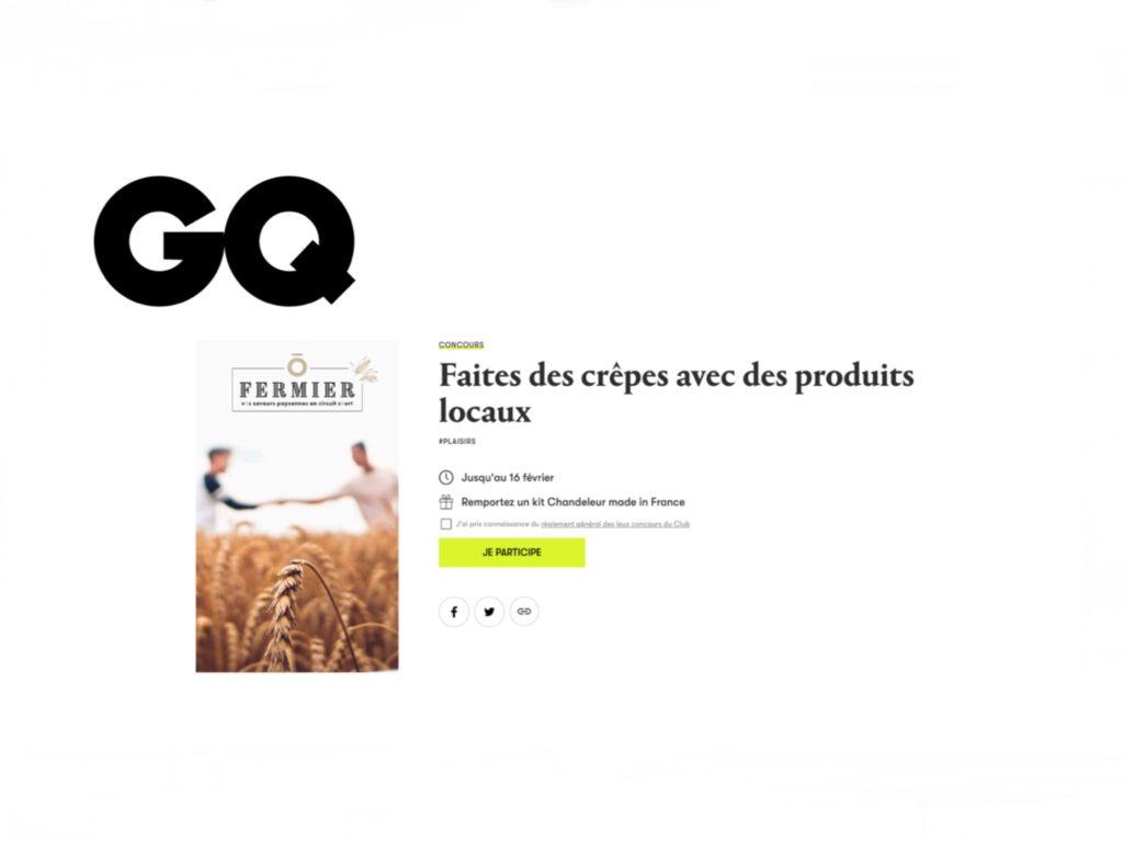 Jeu-concours chandeleur organisé par GQ Magazine