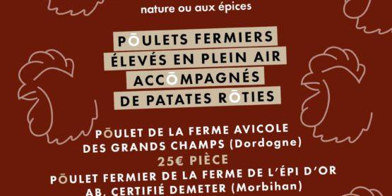 Les poulets rôtis sont disponibles à Ô FERMIER